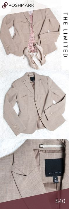 The Limited Blazer Tan 3 Button Size 4 Great blazer from The Limited for work! Size 4 in tan with a slight pattern. 3 button front, 4 buttons on each sleeve, single vent on back. Dry clean only.  Some wear on the inside lining- nothing major The Limited Jackets & Coats Blazers