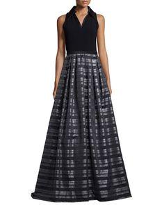 TAS3P Theia Sleeveless Striped Ball Gown