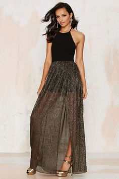NYE Dresses -  50 Sparkly Dresses Perfect for New Year's Eve - Metallic Halter Dress, $78; nastygal.com