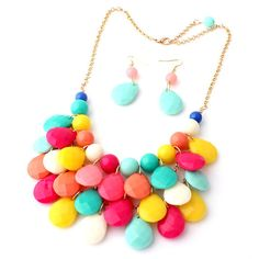 Mix color Teardrop Bubble bib Statement necklace Earring set, Cheap necklace set, Jcrew inspired