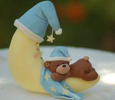 Fondant cake topper Sleepy teddy and moon by HappyCaker on Etsy