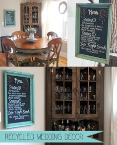 {recycled wedding idea} Recycle your wedding menu and use it for breakfast room decor.