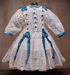 """Antique original lace dress for Jumeau Bru Steiner Eden bebe  or german doll about 22"""" (56 cm)"""