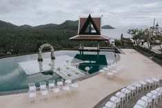 It's hard to beat both an ocean view AND a forest view like the ones in this Thailand wedding at InterContinental Samui Baan Taling Ngam Resort! Beach Wedding Reception, Wedding Ceremony, Pool Wedding, Elopement Wedding, Beach Weddings, Summer Wedding, Wedding Decor, Painted Hills, Thailand Wedding