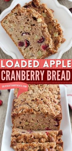 This Apple Cranberry Bread is filled with cinnamon, apples and cranberries then topped with a pecan streusel! Add this sweet breakfast idea to your holiday baking recipes, Christmas morning ideas, or holiday brunch recipes! Breakfast Bread Recipes, Easy Bread Recipes, Brunch Recipes, Baking Recipes, Thanksgiving Desserts Easy, Cranberry Bread, Desserts For A Crowd, Sweet Breakfast, Holiday Baking
