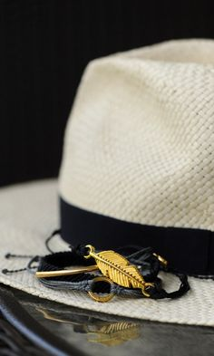 Fedora and handmade gold accessories