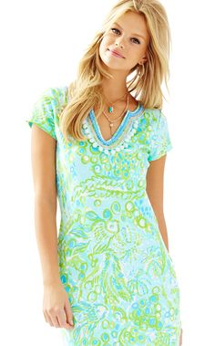 HARPER DRESS POOL BLUE -ANY FINS POSSIBLE BY LILLY PULITZER