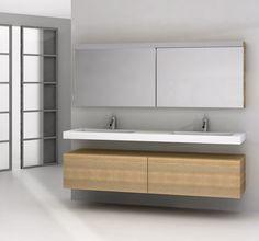 Assenti badkamermeubel met greeploze laden die zijn uitgerust met 'elektronisch gestuurde' A-Motion technologie voor een handig push-to-open effect. Het gebruiksgemak wordt hierdoor aanzienlijk vergroot.