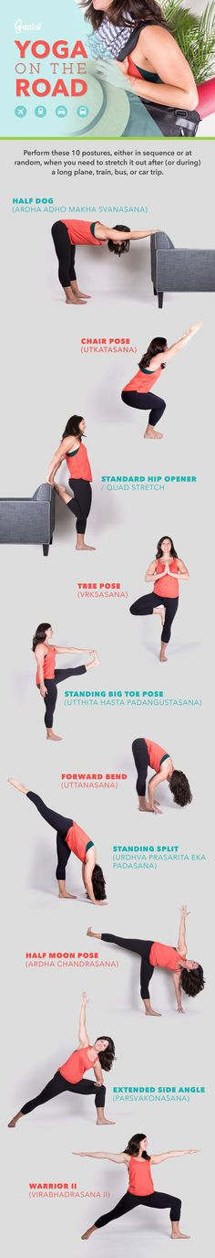 Relieve the aches, pains, and stiffness that come as a result of traveling by practicing these poses. #Yoga #Travel #Tips