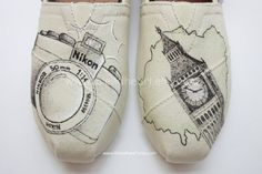 Custom Painted TOMS Shoes - Camera and Photography Travel Design - Adult