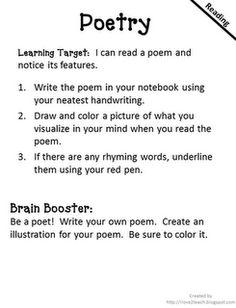Poetry Activity  I Love 2 Teach: Literacy Centers {free printable}