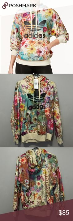 Adidas Original Floral Trefoil Hoodie (NWT) Very difficult item to find in stores! Beautiful design! NWT. Adidas Sweaters
