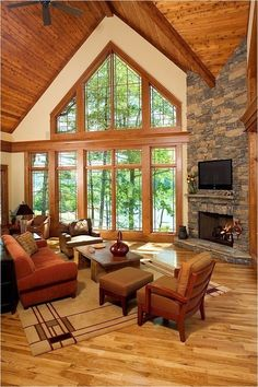 Traditional Living Room Fireplace Design, Pictures, Remodel, Decor and Ideas - page TV on corner fireplace Home Fireplace, Fireplace Design, Fireplace Ideas, Corner Stone Fireplace, Corner Fireplaces, Corner Mantle, Cottage Fireplace, Stone Fireplaces, Fireplace Hearth