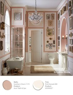 Benjamin moore paint walls southern charm product: dura bath and spa trim pink damask product:advance perfect colors! Bathroom Trends, Bathroom Interior, Bathroom Ideas, Benjamin Moore Pink, Neutral Bathroom, Master Bathroom, Ivy House, Southern Belle, Southern Charm