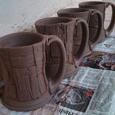 """Grafted barn wood mugs...they are becoming exaggerated exaggerations of themselves."""