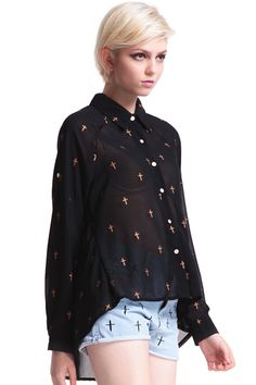 #Romwe Cross Printed Swing Shirt