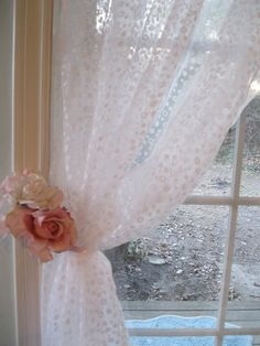 Shower Curtain Shabby Chic Dotted Romantic by mailordervintage