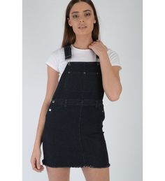 Lovemystyle Black Dungaree Dress Featuring Silver Hardware Black Dungaree Dress, Black Dungarees, Denim Overall Dress, Overall Shorts, Online Shopping Stores, Western Wear, Fashion Outfits, Womens Fashion, Dress Skirt