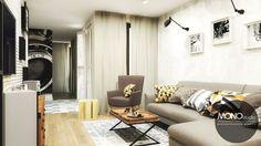 Delikatna kolorystka połączona z wyróżniającymi się wzorami w postaci poduszek oraz użyte elemnety drewna przykuwają uwagę i idealnie się uzupełniają. Po więcej inspiracji zapraszamy na Naszą stronę internetową: biuro@monostudio.pl oraz na Facebooka