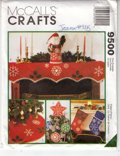 Snowflake Christmas Mantle Santa Centerpiece Ornaments Sew Pattern 9500 Uncut FF #McCalls9500 #Christmasdecor
