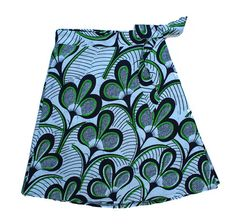 One Size White/Green Art Deco Wrap Skirt / FREE SHIPPING / Fair Trade Made in Malawi from African Wax Print Cotton.../// Dsenyo