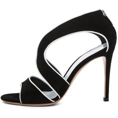 Gianvito Rossi White Contrast Suede Heel in Black ($735) ❤ liked on Polyvore