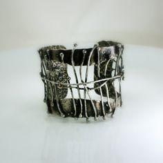 Cuff Bracelet Wide Bracelet Wide Silver Bracelet by jihidesigns