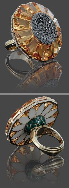 """Ilgiz F """"Sunflower"""" ring in gold with citrines, white and black diamonds and stoving enamel."""