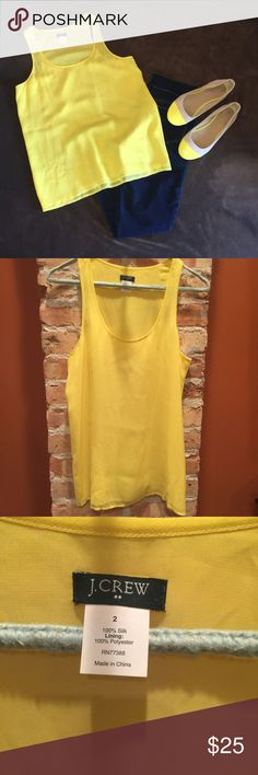 ❌FINAL PRICE❌ J. Crew tank Yellow silk tank from J. Crew Factory! Sheer with a polyester lining. No flaws! J. Crew Tops Tank Tops