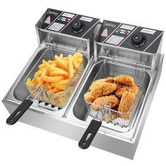 Make crisp and delicious fries, pickle chips, or golden browned chicken at home with the Professional Style Deep Fryer. This home fryer offers convenience and professional results whether you're making mozzarella sticks or homemade doughnuts. Commercial Deep Fryer, Commercial Electric, Cooking French Fries, Best Deep Fryer, Fryer Machine, Electric Deep Fryer, Specialty Appliances, Kitchen Appliances, Kitchen Gadgets