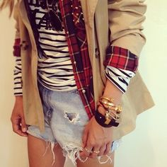 layered plaid and stripes