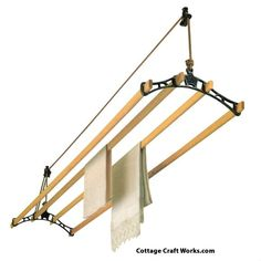 Vintage Suspended Ceiling Clothes Drying Rack | Sheila Maid Clothes Dryer - Folding Clothes Drying Racks - Amish Handcrafted - Home Goods