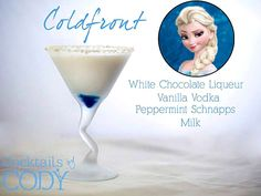 "Elsa's Frozen-inspired cocktail ""Coldfront"" (made with white chocolate liqueur, vanilla vodka, peppermint schnapps and milk)"