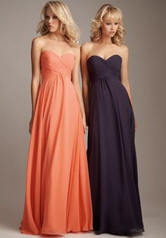 In lavender? Elegant Sweetheart Neckline Ruffle Chiffon Column Floor Length Bridesmaid Dress