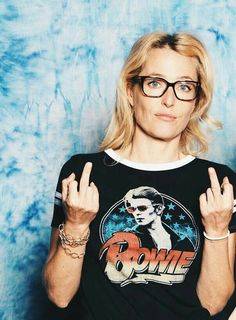 Gillian Anderson- agghhhh the fact that she's wearing a bowie shirt just makes it a millions times better!!!