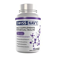 Swiss Navy® Climax (60 Count) is an herbal supplement formulated specifically for women. It dramatically intensifies orgasmic contractions and enhances sex drive, working quickly after just a few days. -Enhances Sexual Pleasure, Promotes Sexual Drive and Magnifies Sensations. http://www.mdsciencelab.com/Swiss-Navy-Enhancement/Swiss-Navy-Climax-60-Count.asp