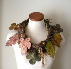 Leaf Scarf- Tweedy Brown with Mustard, Brown, Copper, and Golden Olive Embroidered Leaves- Fiber Art Scarf on Etsy, $140.00