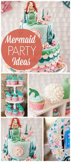 A mermaid under the sea girl birthday party with starfish, mermaid tails, pearls  and sea shells! See more party planning ideas at CatchMyParty.com!