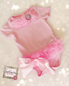 Baby  Girl Pink onesies with  chiffon tutu by TheBabyBellaBoutique, $23.50