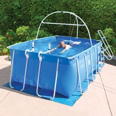 Sold by Hammacher Schlemmer This is the swimming pool that allows swimmers to practice laps in a space the size of an SUV. At only 65' sq., the pool sets up in garages, backyards, basements, or rec rooms.
