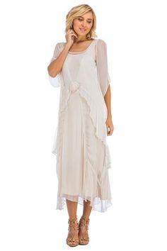 Tea Rose Chiffon Twirl Ivory Dress