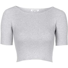 TOPSHOP **Cropped knit top by Glamorous (€34) ❤ liked on Polyvore featuring tops, crop tops, shirts, t-shirts, grey, shirt crop top, gray crop top, grey knit top, gray shirt and shirts & tops