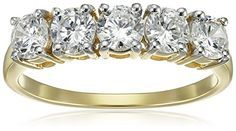 10K Yellow Gold 5 Stone Ring Made with Swarovski Zirconia 1 cttw Size 7 >>> Check out this great product.(It is Amazon affiliate link) #fslc