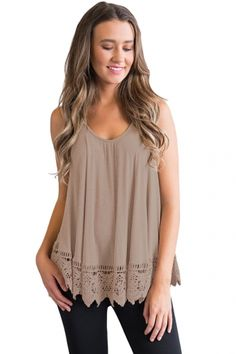 2f81ed13681 US  7.36-Khaki Lace Hemline Loose Fitting Vest Top Dropshipping Loose  Fitting Tops