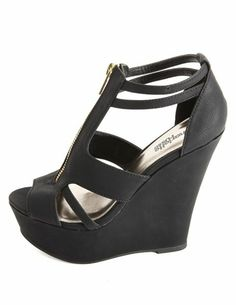 Cut-Out Zip-Up Peep Toe Platform Wedges: Charlotte Russe