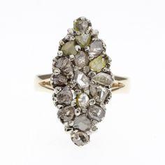 14K Yello White Gold Natural Diamond multi-color Ring