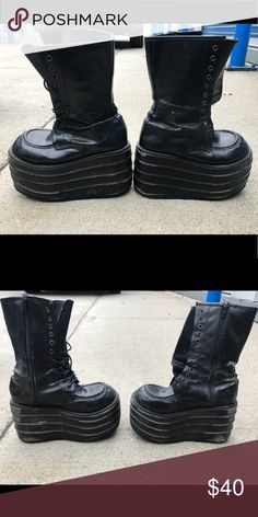 Demonia platform boots Awesome platform boots !! Black  Goth club industrial edm Demonia Shoes Platforms