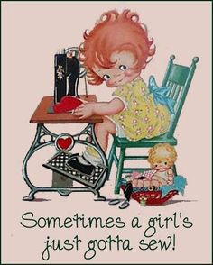 "Sewing Quilts ""Sometimes a girl's just gotta sew! I'd like to take up sewing and I wish I'd learned more of it as a young girl. My Sewing Room, Sewing Art, Sewing Rooms, Sewing Crafts, Sewing Projects, Sewing Patterns, Skirt Patterns, Coat Patterns, Dress Sewing"