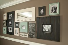 Colored frames- love love love the pop of color! I would do the mirror without hooks
