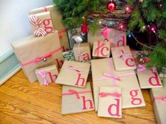 Make your own initial wrapping paper instead of tags